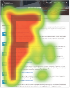 "The ""F"" test research shows how people scan a page before delving into the content."